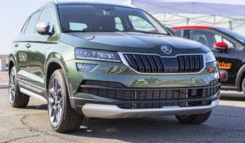 Rome,Italy - July 21, 2019: On occasion of Rome s Rally capital event, the motor showrooms exhibit new cars models: From Volkswagen automaker the new car model Skoda Karoq.
